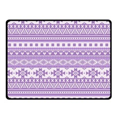 Fancy Tribal Borders Lilac Double Sided Fleece Blanket (Small)