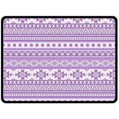 Fancy Tribal Borders Lilac Double Sided Fleece Blanket (large)
