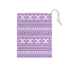 Fancy Tribal Borders Lilac Drawstring Pouches (Medium)