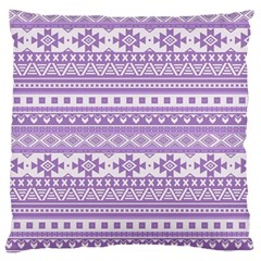 Fancy Tribal Borders Lilac Large Flano Cushion Cases (One Side)