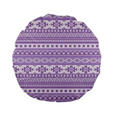 Fancy Tribal Borders Lilac Standard 15  Premium Flano Round Cushions