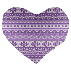Fancy Tribal Borders Lilac Large 19  Premium Flano Heart Shape Cushions