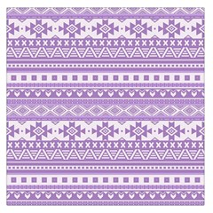 Fancy Tribal Borders Lilac Large Satin Scarf (Square)