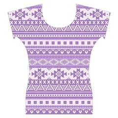 Fancy Tribal Borders Lilac Women s Cap Sleeve Top