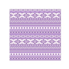 Fancy Tribal Borders Lilac Small Satin Scarf (Square)