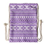 Fancy Tribal Borders Lilac Drawstring Bag (Large) Front