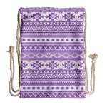 Fancy Tribal Borders Lilac Drawstring Bag (Large) Back