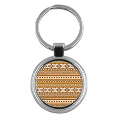 Fancy Tribal Borders Golden Key Chains (round)