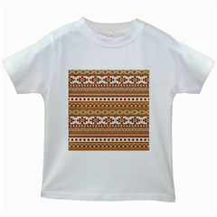 Fancy Tribal Borders Golden Kids White T Shirts
