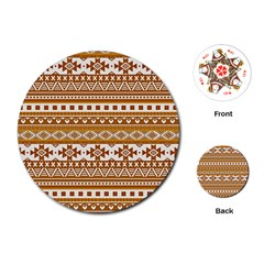Fancy Tribal Borders Golden Playing Cards (Round)