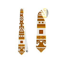 Fancy Tribal Borders Golden Neckties (one Side)