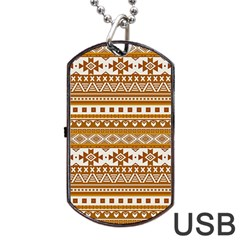 Fancy Tribal Borders Golden Dog Tag USB Flash (Two Sides)