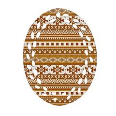 Fancy Tribal Borders Golden Oval Filigree Ornament (2 Side)