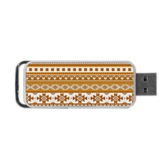 Fancy Tribal Borders Golden Portable Usb Flash (one Side)