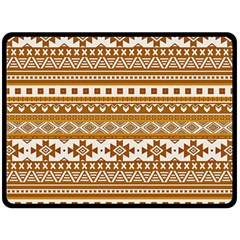 Fancy Tribal Borders Golden Double Sided Fleece Blanket (large)