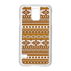 Fancy Tribal Borders Golden Samsung Galaxy S5 Case (White)