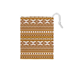 Fancy Tribal Borders Golden Drawstring Pouches (Small)