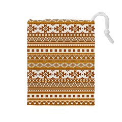 Fancy Tribal Borders Golden Drawstring Pouches (Large)