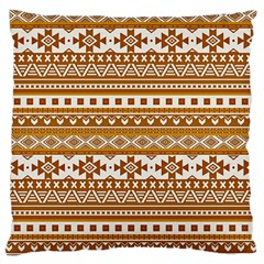 Fancy Tribal Borders Golden Large Flano Cushion Cases (Two Sides)