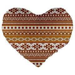 Fancy Tribal Borders Golden Large 19  Premium Flano Heart Shape Cushions