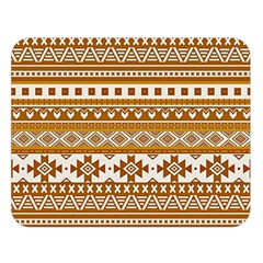 Fancy Tribal Borders Golden Double Sided Flano Blanket (Large)