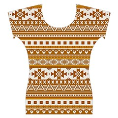 Fancy Tribal Borders Golden Women s Cap Sleeve Top