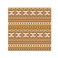 Fancy Tribal Borders Golden Small Satin Scarf (Square)