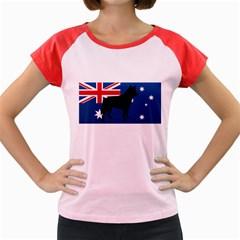 Australian Cattle Dog Silhouette on Australia Flag Women s Cap Sleeve T-Shirt