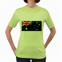 Australian Cattle Dog Silhouette on Australia Flag Women s Green T-Shirt