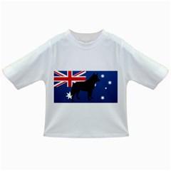 Australian Cattle Dog Silhouette on Australia Flag Infant/Toddler T-Shirts