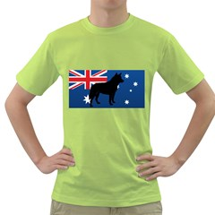Australian Cattle Dog Silhouette on Australia Flag Green T-Shirt
