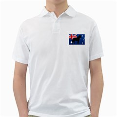 Australian Cattle Dog Silhouette on Australia Flag Golf Shirts