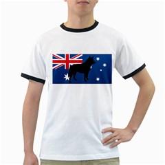 Australian Cattle Dog Silhouette on Australia Flag Ringer T-Shirts