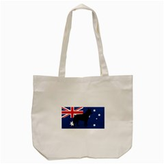Australian Cattle Dog Silhouette on Australia Flag Tote Bag (Cream)