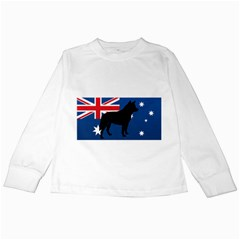 Australian Cattle Dog Silhouette on Australia Flag Kids Long Sleeve T-Shirts