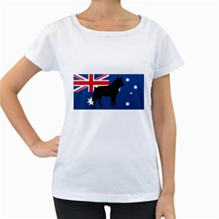 Australian Cattle Dog Silhouette on Australia Flag Women s Loose-Fit T-Shirt (White)