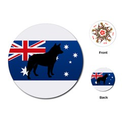 Australian Cattle Dog Silhouette on Australia Flag Playing Cards (Round)