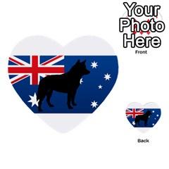 Australian Cattle Dog Silhouette on Australia Flag Multi-purpose Cards (Heart)
