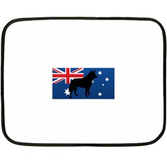 Australian Cattle Dog Silhouette on Australia Flag Fleece Blanket (Mini)