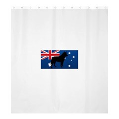 Australian Cattle Dog Silhouette on Australia Flag Shower Curtain 66  x 72  (Large)