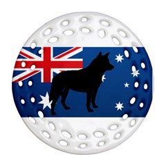 Australian Cattle Dog Silhouette on Australia Flag Ornament (Round Filigree)