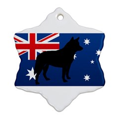 Australian Cattle Dog Silhouette on Australia Flag Snowflake Ornament (2-Side)