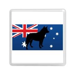 Australian Cattle Dog Silhouette On Australia Flag Memory Card Reader (square)