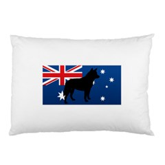 Australian Cattle Dog Silhouette on Australia Flag Pillow Cases (Two Sides)