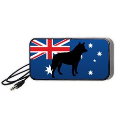 Australian Cattle Dog Silhouette on Australia Flag Portable Speaker (Black)