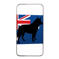Australian Cattle Dog Silhouette on Australia Flag Apple iPhone 4/4s Seamless Case (Black)