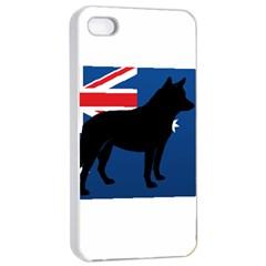 Australian Cattle Dog Silhouette On Australia Flag Apple Iphone 4/4s Seamless Case (white)