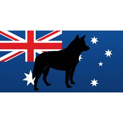 Australian Cattle Dog Silhouette on Australia Flag YOU ARE INVITED 3D Greeting Card (8x4)