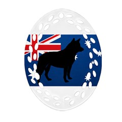 Australian Cattle Dog Silhouette on Australia Flag Oval Filigree Ornament (2-Side)
