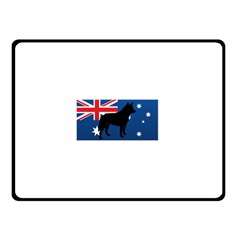 Australian Cattle Dog Silhouette on Australia Flag Double Sided Fleece Blanket (Small)